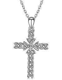 Sterling Silver Irish Celtic Knot Cross Pendant Necklace for Women Girls Boys