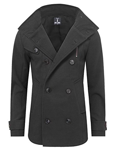 Tom's Ware Mens Stylish Fashion Classic Wool Double Breasted Pea Coat TWCC06-08-CHARCOAL-US XL by Tom's Ware