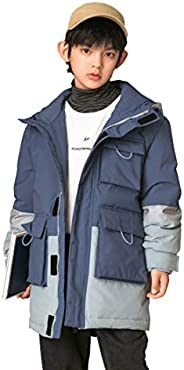 SnowJoy Youth Hooded Down Jacket Windproof and Water-Resistant Puffer Coat Winter Jacket Parka for Boys