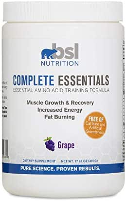 BSL Nutrition, Complete Essentials, Grape, Caffeine Free Pre-Workout, Amino Acid Supplement, Increase Energy, Support Muscle Growth and Recovery, 490 Gram jar (28 Servings)
