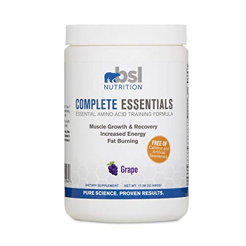 BSL Nutrition, Complete Essentials, Grape, Caffeine Free Pre-Workout, Amino Acid Supplement, Increase Energy, Support Muscle Growth and Recovery, 490 Gram jar 28 Servings