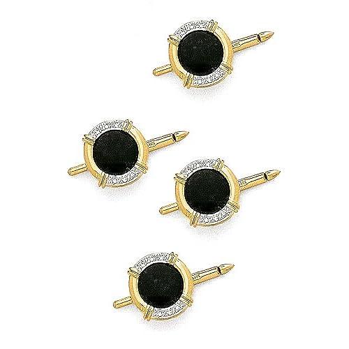 14K Yellow Gold Diamond & Onyx Shirt Stud Set-89282