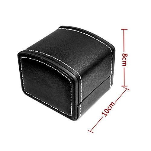 NICERIO Watch Jewelry Box Organizer,Single Grid PU Leather Gift Bracelet Jewelry Case Storage Organizer,9.37 5.43 7.8 inch (LWH),Black