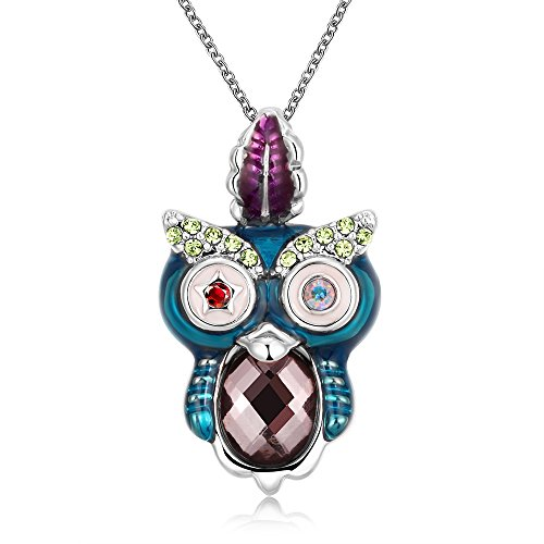 SDLM Rose Gold Refinement Crystal Owl Pendant Necklace Charm Chain Jewelry(w)