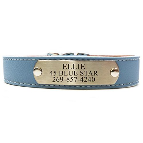 Italian Leather Dog Collar With Engraved Nameplate - Light Blue (Size 16) (Leather Nameplate)