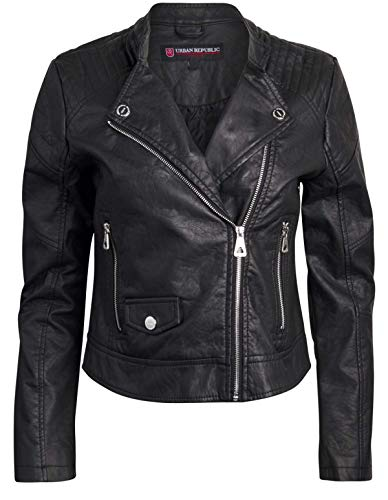 Urban Republic Women Faux Leather Moto Biker Jacket with Studded Detailing (Black 2, ()