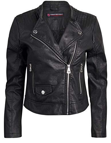 Urban Republic Women Faux Leather Moto Biker Jacket with Studded Detailing (Black 2, Large)'