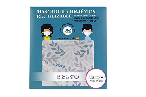 """41xYMm3Z5 L Mascarilla higiénica reutilizable certificada y homologada con normativa UNE0065:2020. Certificada por ITEL (Instituto Técnico Español de Limpieza). Eficacia de filtración >93% (""""Ensayo BFE"""") y de Respirabilidad >46 Pa/cm2 (Presión diferencial). Tejido hidrofobo y anti bacteriano. Mascarilla compuesta en un 65% algodon, 35% polyester, lavable (hasta 20 lavados a 60 grados con jabon neutro), cómoda y segura"""