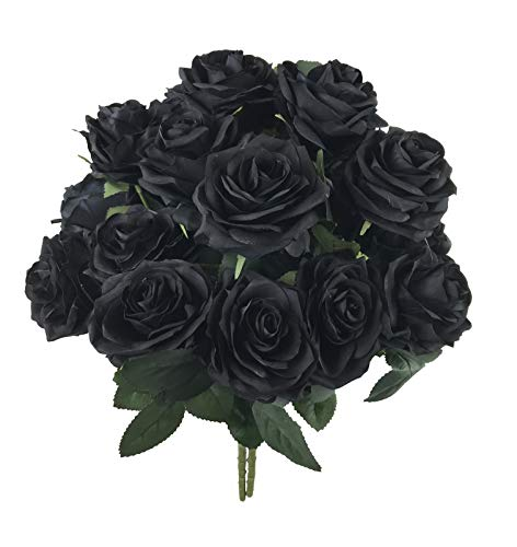 DALAMODA Black Roses 2 Bundles (with Total 20 Heads) Rose Flower Bouquet, for DIY Any Decoration Artificial Silk Flower,Gift Flower(Pack 2pcs -