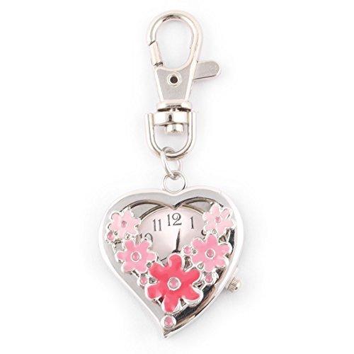 eDealMax Catena chiave del pendente del Modello Sweet Heart Fiore orologio al quarzo Orologio (Sweetheart Pendent)