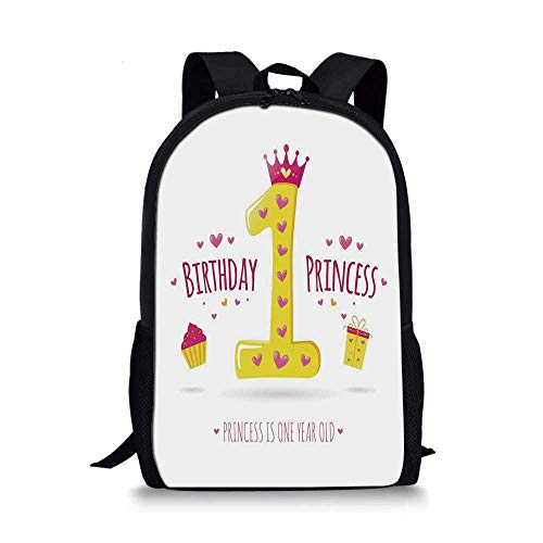 1st Birthday Decorations Stylish School Bag,Quote Design Princess Girl Theme Party with Hearts Image for Boys,11''L x 5''W x 17''H]()