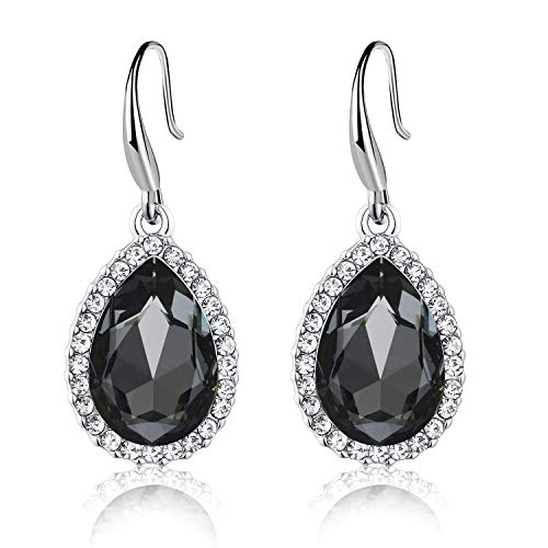 Swarovski Crystal Teardrop Dangle Drop Earrings for Women Girls 14K Gold Plated Hypoallergenic Jewelry (Black)