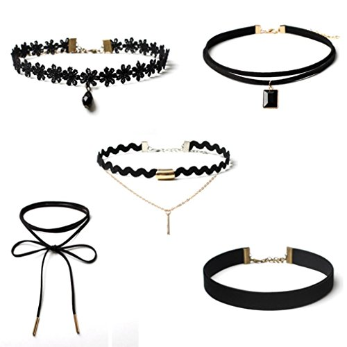 Price comparison product image ManxiVoo 5 Pieces Choker Set,  Hot Sales Womens Stretch Velvet Classic Gothic Tattoo Lace Choker Necklace (Black)