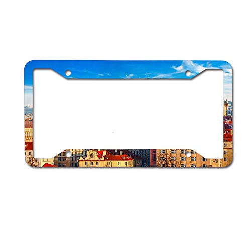 PoppyAnthony Landscape Panorama with Red Roofs Houses in Old Town Prague City Novelty License Plate Frame Aluminum License Plate Slim 4 Holes and Screws for US Canada