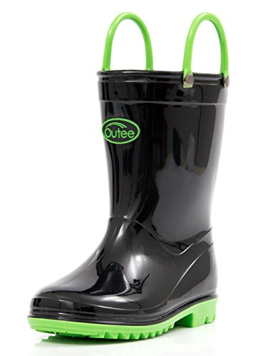 Outee Toddler Boys Girls Rain Boots Kids Waterproof Shoes Black Lightweight Cute Lovely Funny with Easy-On Handles Classic Comfortable (Size ()