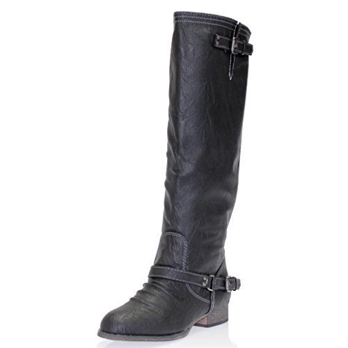Breckelle's Outlaw-11 Women's Ankle Strap Tall Riding Boots,6 B(M) US,Premium Black 11
