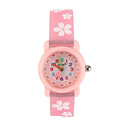 Pink Flower Girl Watch (JIAN YA NA Children's Watch Waterproof 3D Cute Cartoon Design Round Dial Silicone Rubber Jelly Color Watch Band Xmas Gifts Quartz Wristwatch for Little Girls Boy Kids Children (Pink(Flower)))