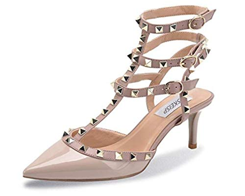 - Womens Stud Ankle Strap Slingback Heeled Sandals Pointed Toe Stiletto High Heel Pumps Shoes Nude Grey Patent PU US8 EU40