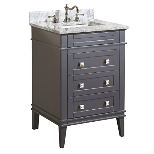 Kitchen Bath Collection KBC-L24GYCARR Eleanor Bathroom Vanity with Marble Countertop, Cabinet with Soft Close Function & Undermount Ceramic Sink, 24