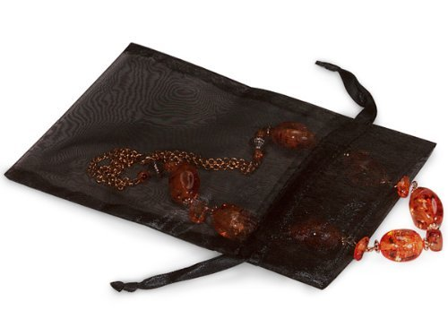 BLACK Organza Bags 5x7with Satin Drawstrings 25 unit, 10 pack per unit. by Nas