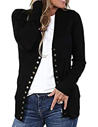 yulinge Womens Knitted Sweater Button Up V Neck Open Front Cardigan Outwear
