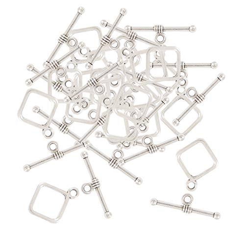 Fenteer Tibetan Silver Clasps Toggle for Jewelry Making Clasp for Necklace Making DIY Crafts Findings 20 Set Square OT Clasp ()