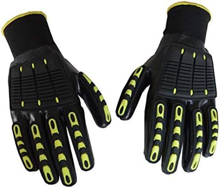 労働保護作業用手袋 作業手袋 ヘビーデューティー作業 ナックルズパッド付き アンチ・ビブラント 安全手袋 グリップ、インダストリアルインパクトワーキングギア (Color : Black, Size : L-9(24CM))
