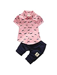 WOCACHI Toddler Kids Baby Boys Beard T Shirt Tops+Shorts Pants Outfit Clothes Set