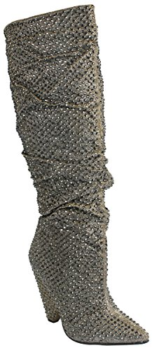 JJF Shoes Women Pewter Pointy Toe Glitter Rhinestone Embellished Slouch Knee High Cone Heel Boots-7 -