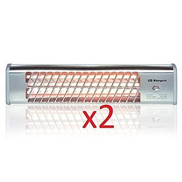 Calefactor Estufa 2 tubos de cuarzo 800W Calefactor Calentador Radiador Halogeno Calor hogar (Pack de