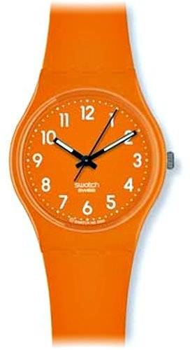 Swatch Women's GO105 Quartz Orange Dial Plastic Casual Watch
