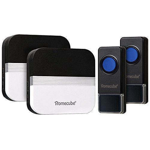 Homecube Wireless Doorbells 58 Chime / Over 1640 Ft Range / 2 Push Button with 2 Plug-in Receivers 4 Volume Levels with LED Indicator