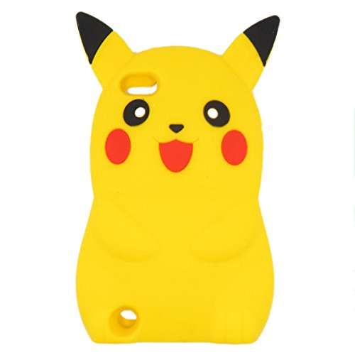 Ipod Touch 6 case, Ipod Touch 6 Generation Cover,WGOOD 3D Cartoon Pikachu Soft Silicone Rubber Protection Skin Case Cover for Apple Ipod Touch 6