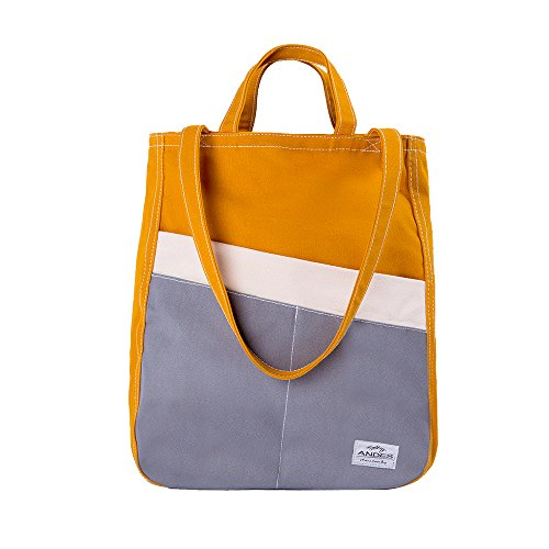 Andes Original Duck Canvas Zip Purse, Multi-Pocket Casual Tote Bag for Ladies Daily Use, Machine Washable (Yellow) Canvas Tote Bag Handbag
