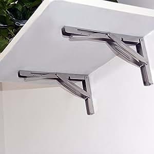 HOFEN Wall-mounted Heavy Duty Stainless Steel Folding Shelf Bench Table Bracket 660lb/300kg Load 2 Pieces Long Release Arm