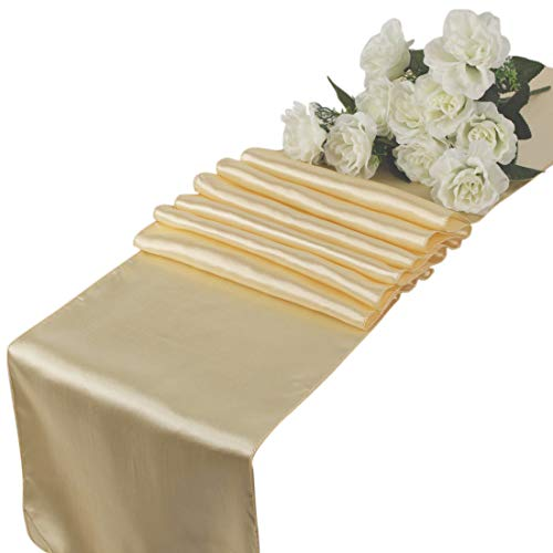 mds Pack of 10 Wedding 12 x 108 inch Satin Table Runner for Wedding Banquet Decoration- Cream from mds