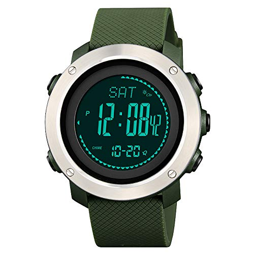 Pedometer Digital Watch, Men's Sports Watch with Compass Barometer Temperature Altimeter Countdown Timer Step Counter Stopwatch Water Resistance