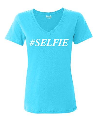 Trendy Teez #selfie Funny Hashtag Womens V-Neck T Shirt blue-XL
