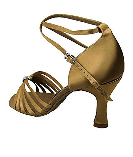 Très Belle Salle De Bal Latin Tango Chaussures De Danse De Salsa Pour Les Femmes S92311 Talon De 3 Pouces + Bundle De Brosse Pliable Tan Satin