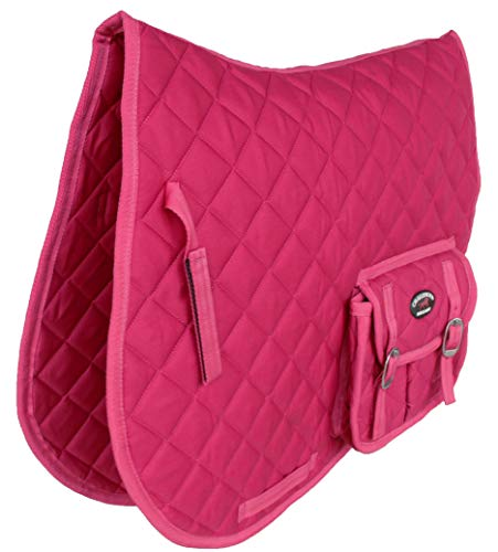 CHALLENGER Horse English Quilted All-Purpose Saddle Pad Hot Pink w/Pockets 72123