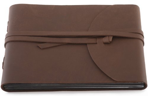 """Indiary Photo Album Scrapbook Made of Genuine Buffalo Leather and Handmade Paper - Wild-10x7""""-brown"""
