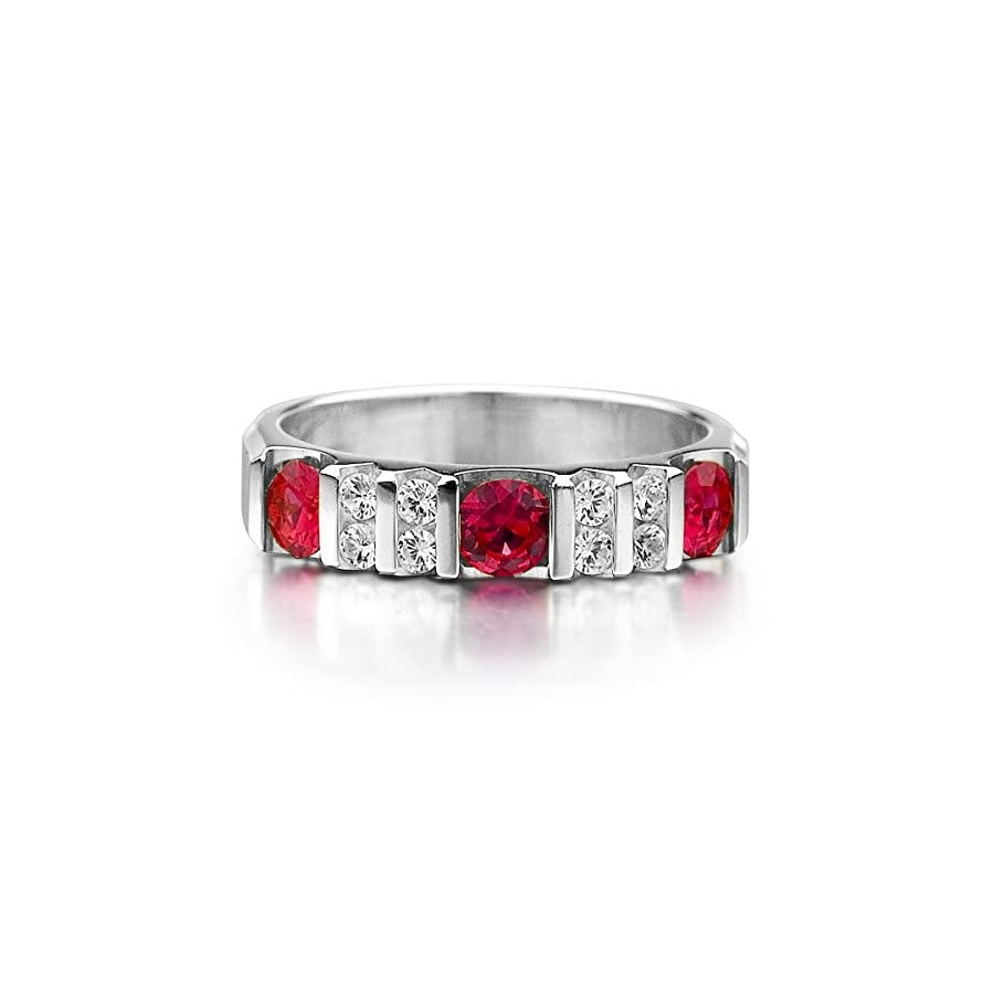 14K White Gold Diamond & Ruby Ring (.90 cttw, F G Color, VVS1 VVS2 Clarity)