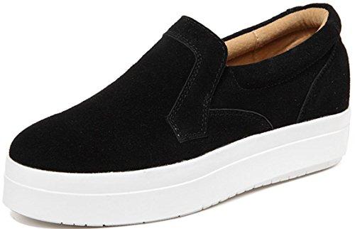 Gömda Häl Dagdrivaren Skor Kvinnor, Kilar Mid-häl Plattform Sneakers Tillfälligt Arbete Pumpar 3 Färger Storlek 5,5-9 Rent Svart