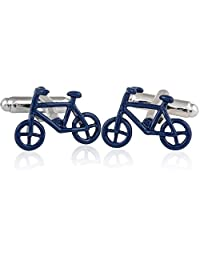 Bicycle Cufflinks in Blue by Cuff-Daddy