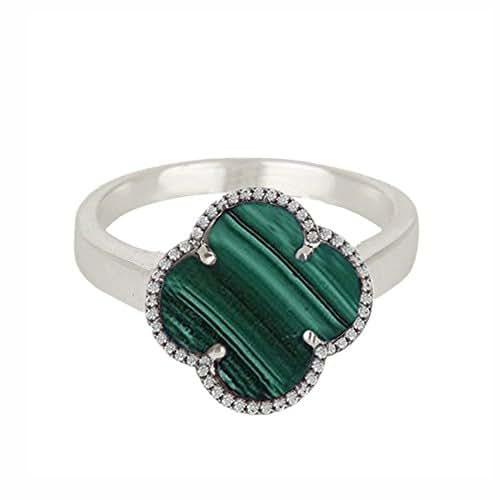 5e8a5611f0fcf Amazon.com: Black Onyx Gemstone Clover Rings 925 Silver Diamond ...
