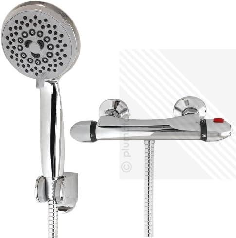 Columna de ducha expuesta con termostato con válvula mezcladora 5 ...