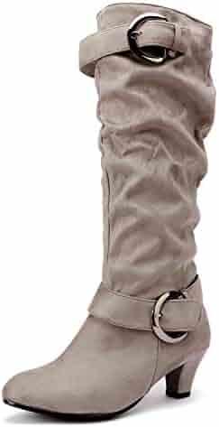 2a740ae6527 Odema Women s Zipper Chunky High Heel Platform Knee High Winter Boots