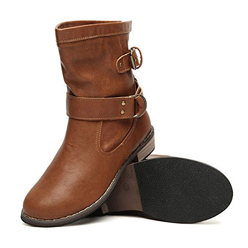 mollet antidérapantes Chaussures Bottes motard bas Femme en Bottes mi Mxssi PU Chaussures Noir Locomotive brown Bottes Martin talons plates cuir Bottes Marron à Chaussure Ew7waq