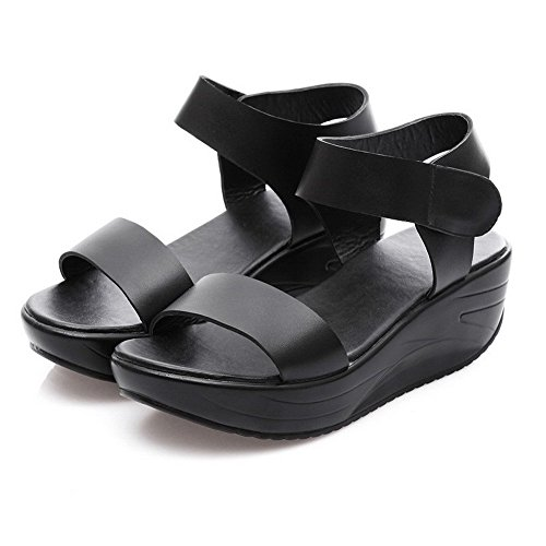 AllhqFashion Mujeres Cuero De Vaca Sólido Velcro Puntera Abierta Plataforma Sandalia Negro
