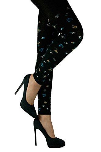 Crönert Leggings Streublumen auf schwarz 78623 Farbe 1378